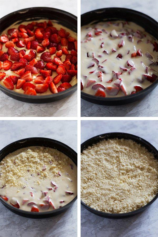 Пирог-крамбл с клубникой и сливочным сыром