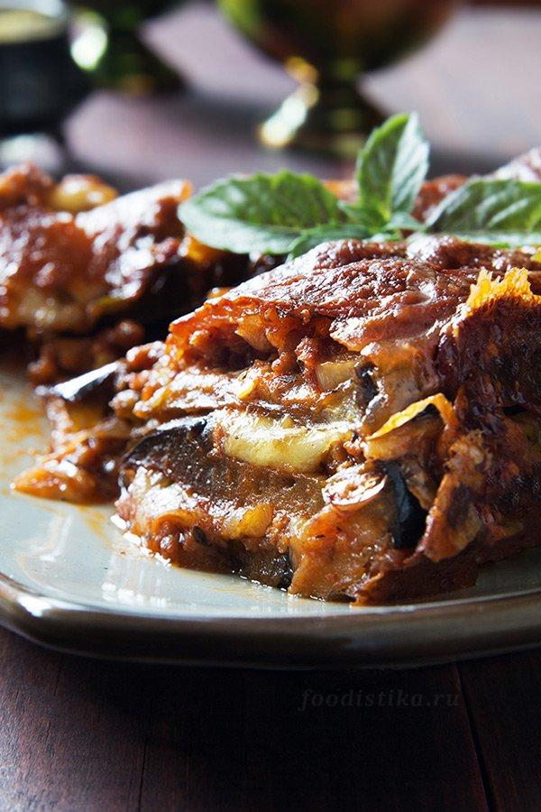 Лазанья из баклажанов с мясным фаршем